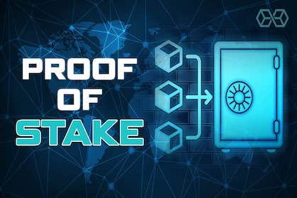 proof of stake written in plain text next too a blockchain representation and a safe