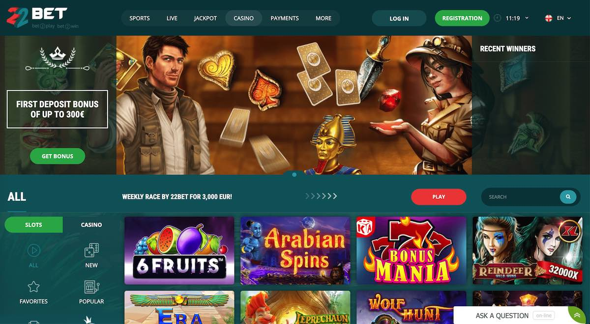 22bet.com landing page crypto casino showing an offer of first deposit 300$