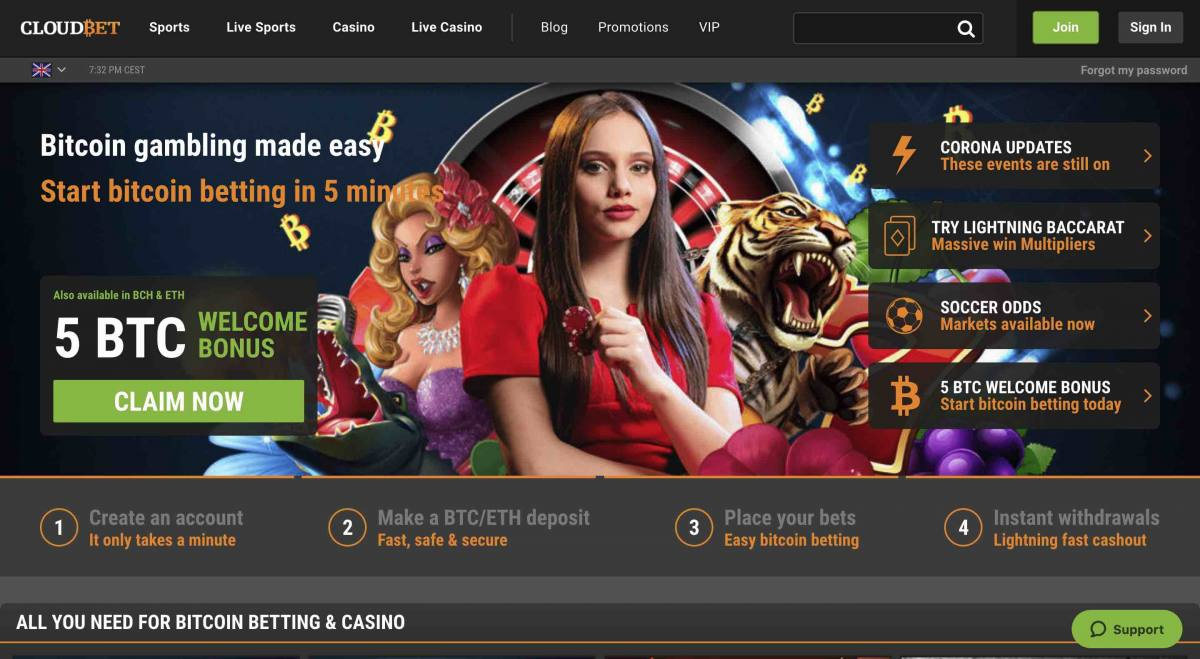 Cloudbet crypto sports betting site home page showing a 5BTC deposit bonus offer