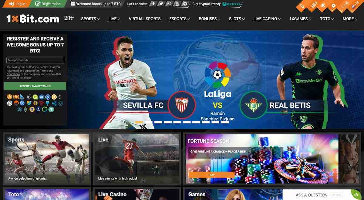 Main page of 1xbit crypto sports betting site online and bitcoin casino