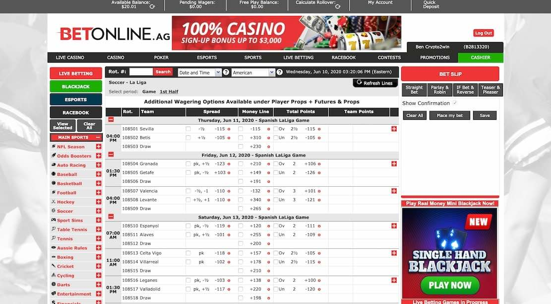 Betonline main sports betting page showing 3000$ promotion for deposit and all the sports you can bet on with betonline
