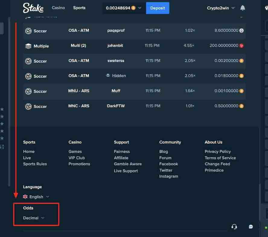 How to change the odds dispay from decimal to american to indonesian on stake.com