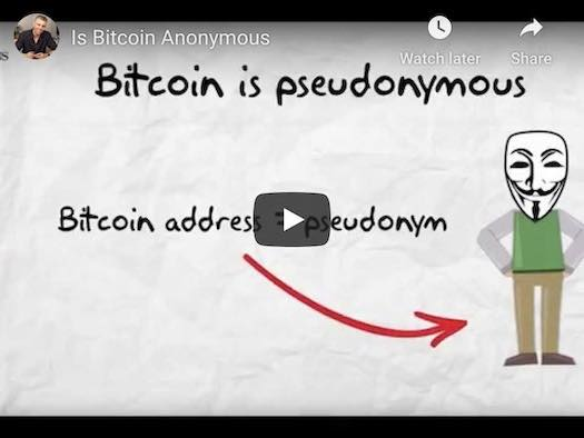 Video youtube showing a text saying that bitcoin is pseudonymous