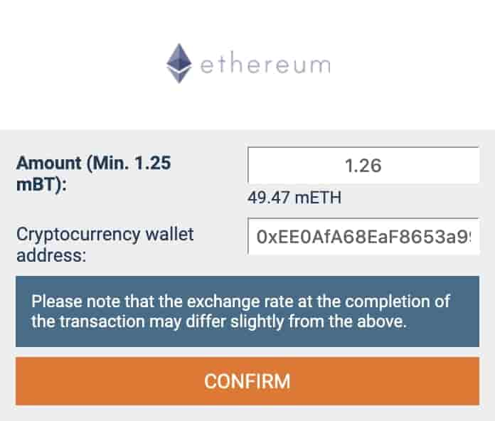 proof that you can withdraw in another crypto that the one you used to deposit with 1xbit
