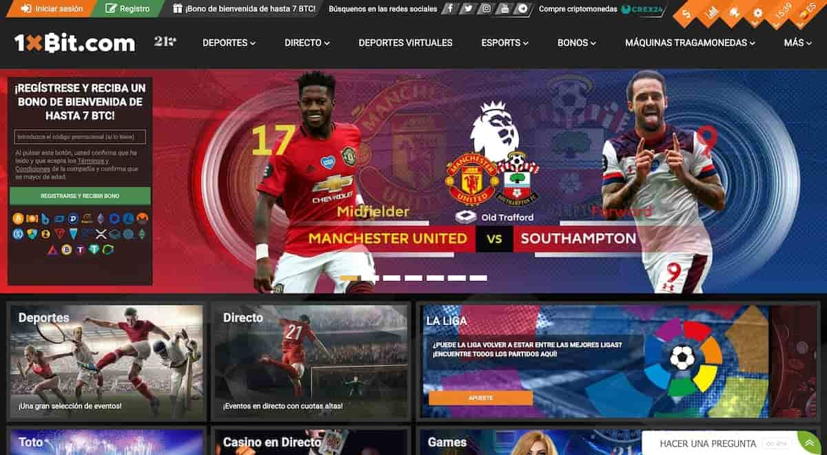 Página principal del sitio de apuestas deportivas en línea 1xbit crypto y del casino bitcoin