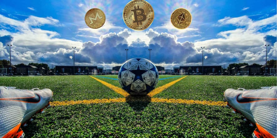 Football player facing a ball and 3 coins: bitcoin, ethereum and monero, expressing that it's possible to bet on the best crypto sports betting sites right now