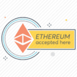 Ethereum accepted here sign showing that lotss of shops accept Crypto as a method of payment now