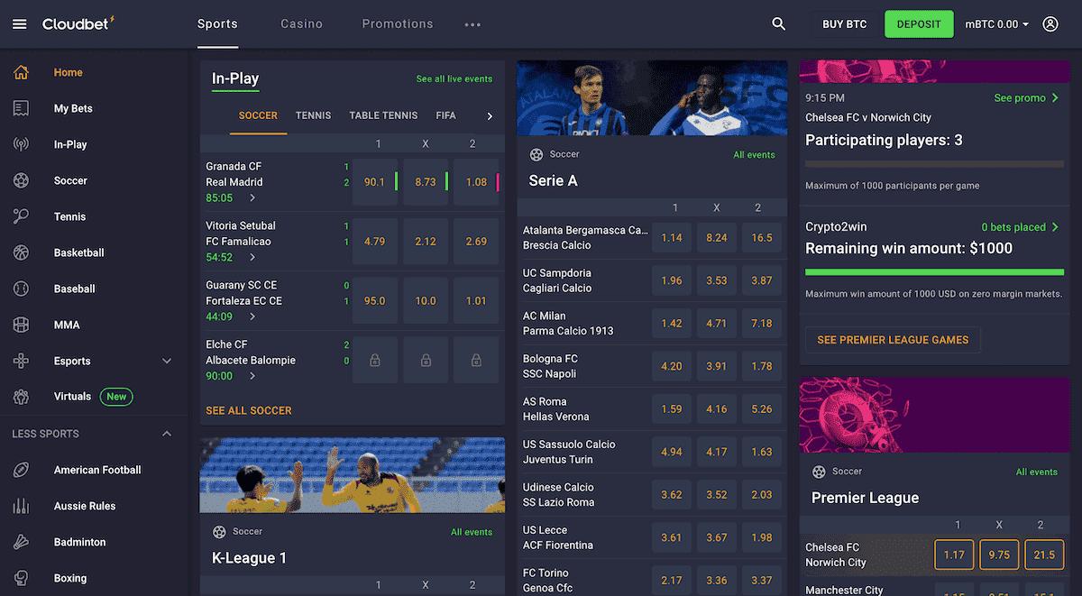 La página de inicio del sitio de apuestas deportivas Cloudbet crypto que muestra una oferta de bonificación de depósito de 5BTC